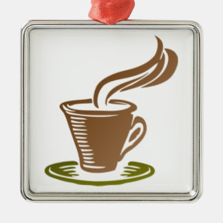 Stylized Steaming Hot Coffee Cup on a Green Saucer Christmas Tree Ornaments