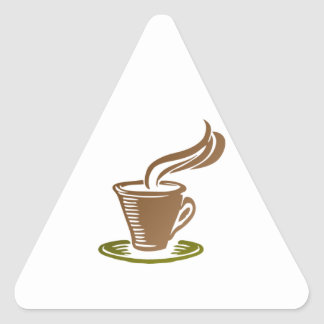 Stylized Steaming Hot Coffee Cup on a Green Saucer Triangle Sticker