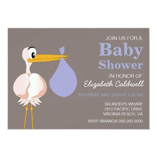 stylized stork baby shower invitation zazzle