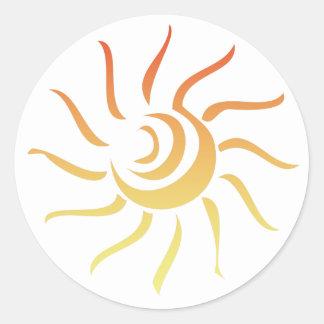 Stylized Sun Classic Round Sticker