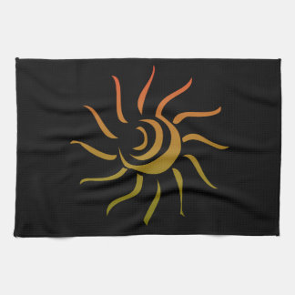 Stylized Sun Upon Black Background Hand Towels