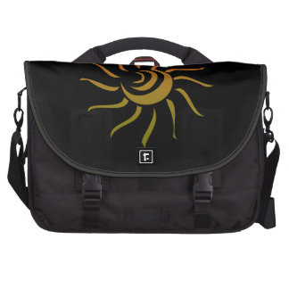 Stylized Sun Upon Black Background Bags For Laptop
