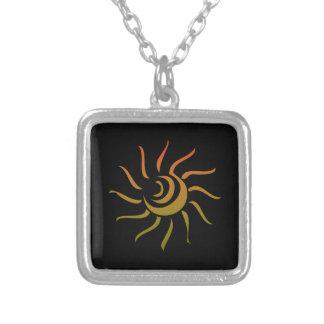 Stylized Sun Upon Black Background Pendant