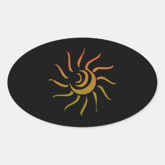 Stylized Sun Upon Black Background Oval Sticker