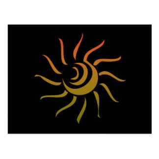 Stylized Sun Upon Black Background Postcard