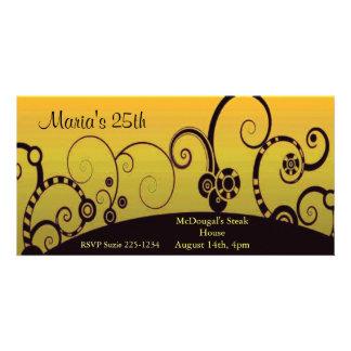 Stylized Swrils on Yellow Card