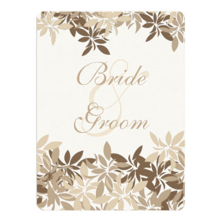 Stylized Tan and Brown Floral Leaves 6.5x8.75 Paper Invitation Card