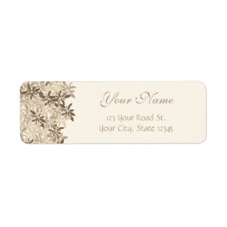 Stylized Tan and Brown Floral Leaves Label