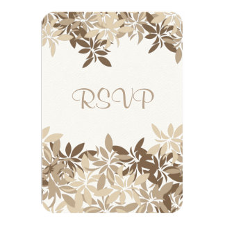 Stylized Tan and Brown Floral Leaves RSVP Card
