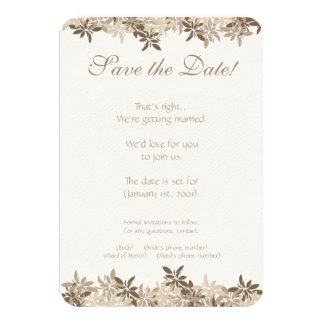 Stylized Tan and Brown Floral Leaves Save the Date Card