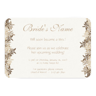 Stylized Tan and Brown Floral Leaves Shower Card