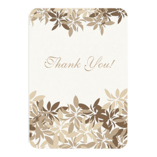 Stylized Tan and Brown Floral Leaves Thank You Card