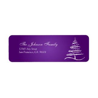 Stylized Tree Holiday Address Labels (purple)