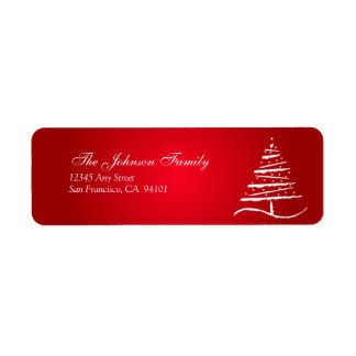 Stylized Tree Holiday Address Labels (red)