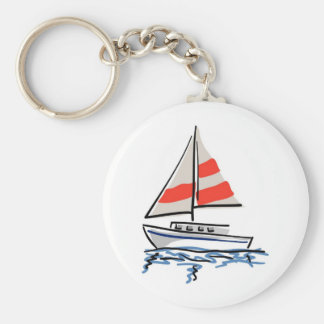 Stylized Tropical Sailboat Basic Round Button Keychain