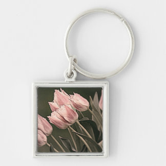 Stylized Tulips Silver-Colored Square Keychain