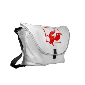 Stylized two red w frame peppers messenger bag