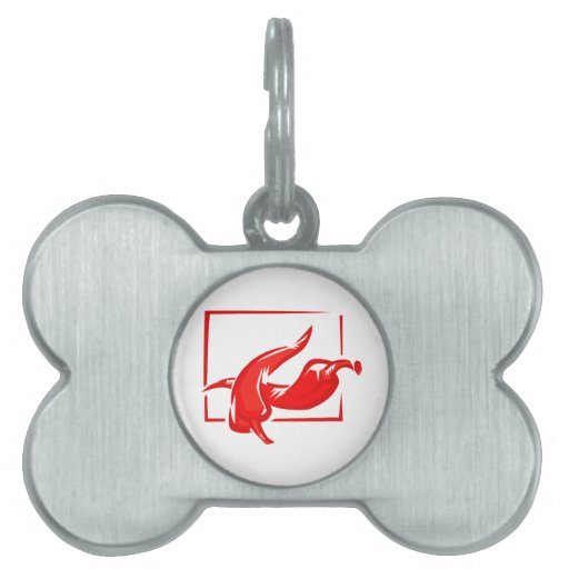 Stylized two red w frame peppers pet ID tag