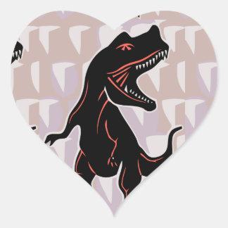 Stylized Tyrannosaurus Heart Stickers