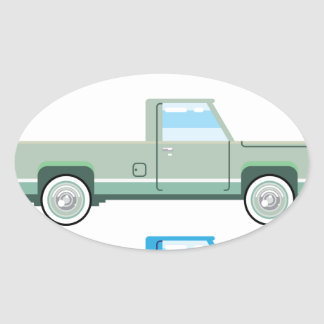 Stylized Vector Old Pickup Truck vector Oval Sticker
