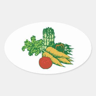 Stylized Vegetable Assortment Oval Sticker