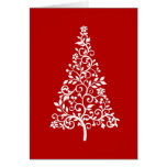 Stylized White Christmas tree on red holiday card