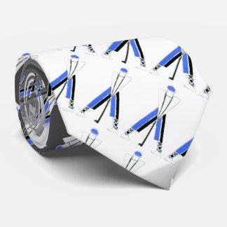 STYLIZED WHITE GREY BLUE GOLFER ,GOLF PLAYERS NECK TIE
