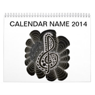 Stylized White on Black Treble Clef Music Doodle Calendar
