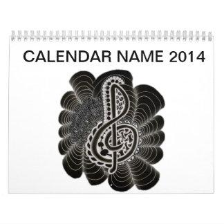 Stylized White on Black Treble Clef Music Doodle Calendar