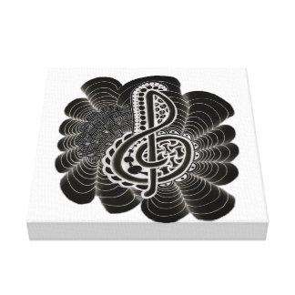 Stylized White on Black Treble Clef Music Doodle Canvas Print