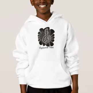 Stylized White on Black Treble Clef Music Doodle Hoodie