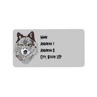 Stylized Wolf Head Adress Label