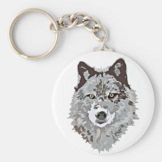 Stylized Wolf Head Basic Round Button Keychain