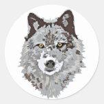 Stylized Wolf Head Classic Round Sticker