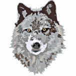 """Stylized Wolf Head Cut Out<br><div class=""""desc"""">Stylized gray wolf head with yellow piercing eyes.  If wolves are you spirit guide you&#39;ll want to check out our other items with this image.</div>"""