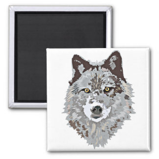 Stylized Wolf Head Magnet