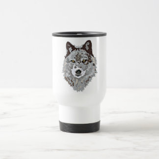 Stylized Wolf Head 15 Oz Stainless Steel Travel Mug