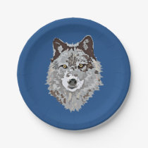 Stylized Wolf Head Paper Plate