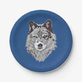 Stylized Wolf Head Paper Plate