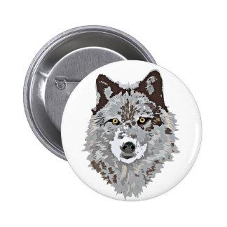 Stylized Wolf Head Pinback Button