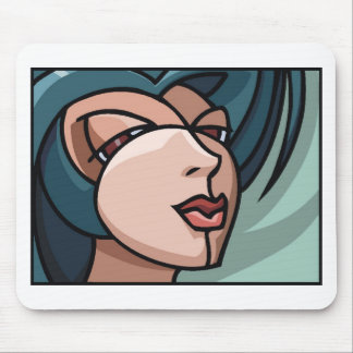 Stylized Woman's Face Mouse Pad