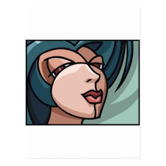 Stylized Woman's Face Postcard