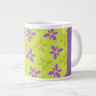 Stylized yellow&purple flowers large coffee mug