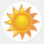 Stylized Yellow Sun Classic Round Sticker