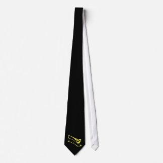 stylized yellow trombone graphic image neck tie