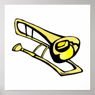 stylized yellow trombone graphic image print