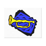 Stylized Yellow Trumpet Grapic Blue Background Gallery Wrapped Canvas