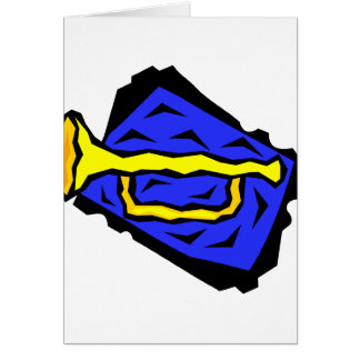 Stylized Yellow Trumpet Grapic Blue Background Card