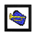 Stylized Yellow Trumpet Grapic Blue Background Jewelry Box