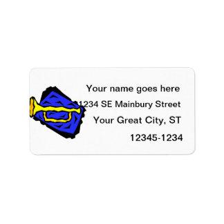 Stylized Yellow Trumpet Grapic Blue Background Label